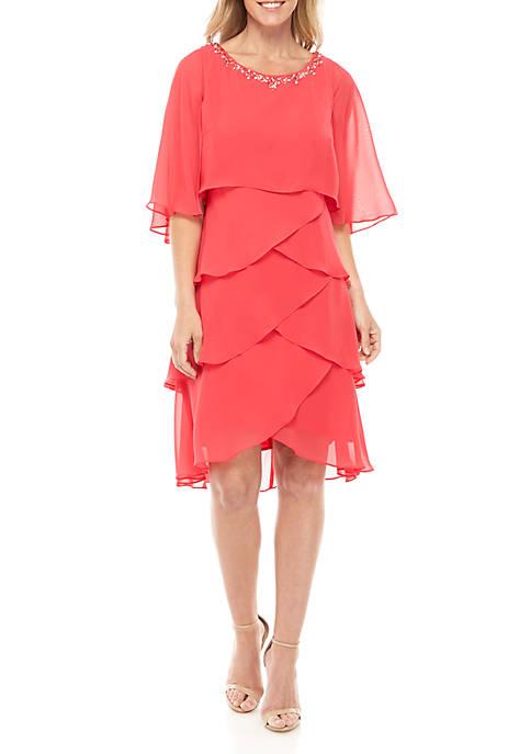 Overlay Tiered Short Dress