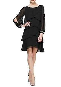 Long Sleeve Tiered Chiffon Dress With Embellished Cuffs