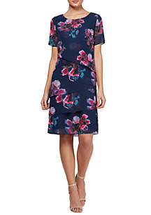 Short Sleeve Floral Tiered Dress