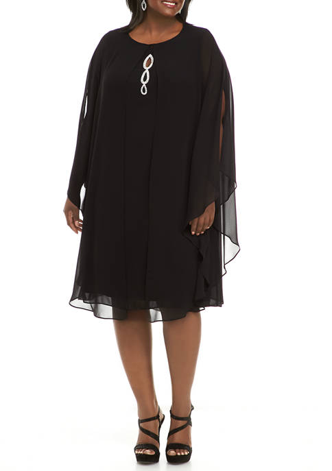 Plus Size 2 Piece Removable Chiffon Capelet with Sleeveless Rhinestone Keyhole Front Dress