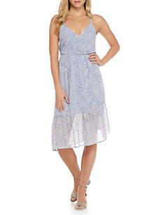 Asymmetric Ruffle Wrap Dress