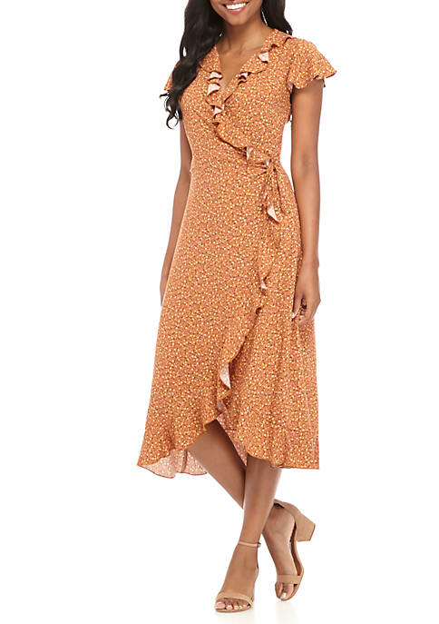 PARC & LEX Ruffle Wrap Midi Dress