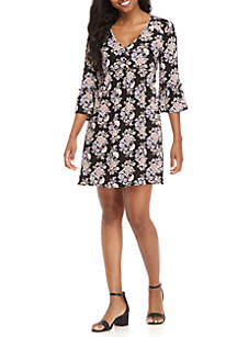 V-Neck Ruffle Sleeve Dress