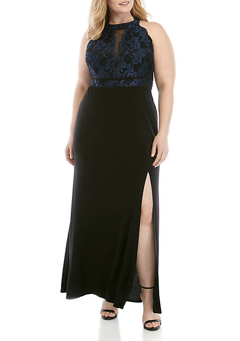 Plus Size Glitter Lace Bodice Jersey Halter Gown