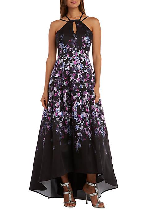 Floral Printed High Low Hem Halter Gown