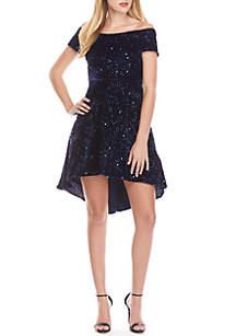 High Low Sequin Velvet Dress