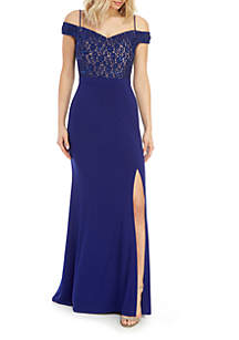 Morgan & Co. Off the Shoulder Sequin Mesh Bodice Jersey Gown