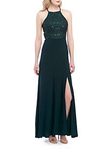 Morgan & Co. Sequin Lace Bodice Jersey Halter Gown