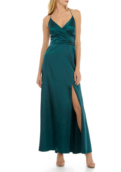Womens Stretch Satin Tie V Neck Pleated Gown