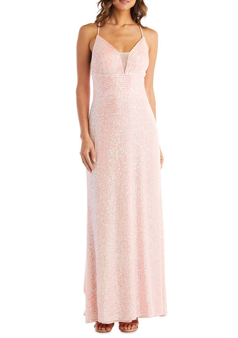 Morgan & Co. Womens Sleeveless V Neck Gown