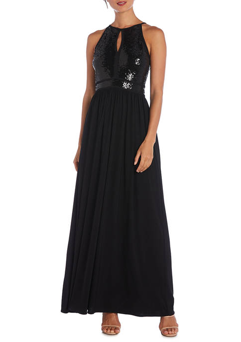 Womens Halter Sequin Bodice Gown