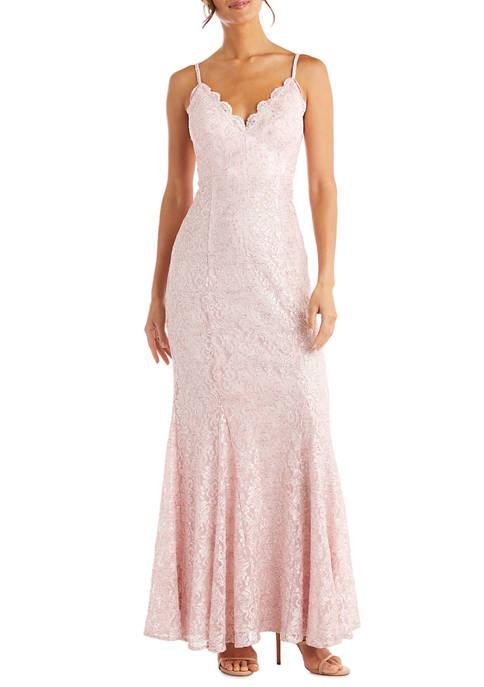 Morgan & Co. Womens Sleeveless Lace Mermaid Dress