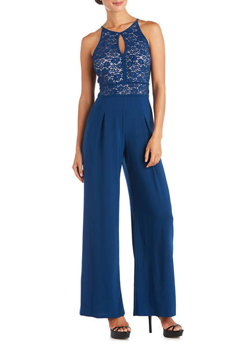 Nightway Womens Lace Jersey Jumpsuit
