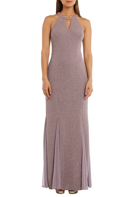 Nightway Womens Glitter Cutout Gown