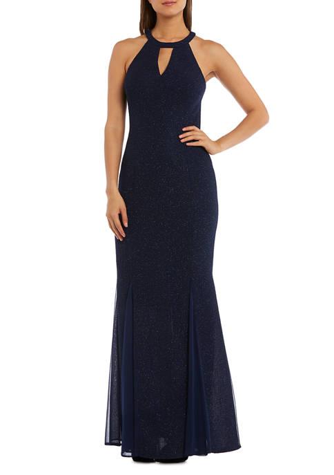 Womens Glitter Cutout Gown