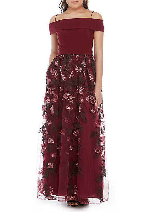 Nightway Off the Shoulder Embroidered Mesh Gown