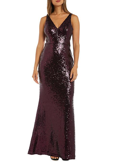 Morgan & Co. Sleeveless Sequin Long Gown