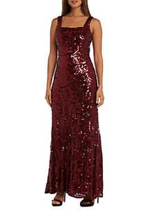 Sleeveless Swirl Sequin Gown