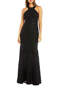Nightway Sequin Lace Mermaid Ballgown
