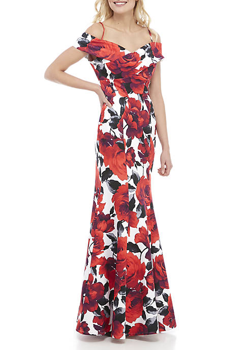 Nightway Off the Shoulder Floral Print Gown