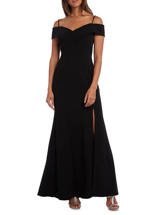 Nightway Womens Off-the-Shoulder Scuba Gown