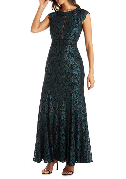 Nightway Womens Long Lace Trumpet Dress