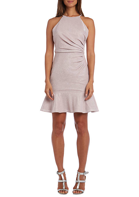 Metallic Knit Side Detail Flounce Dress