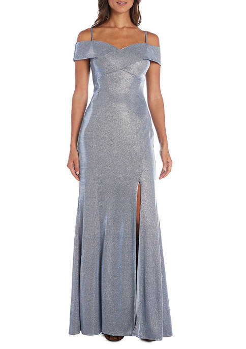 Womens Off-the-Shoulder Shimmer Gown