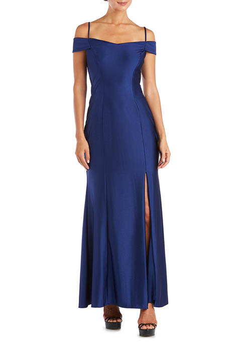 Nightway Womens Off-the-Shoulder Power Sateen Gown