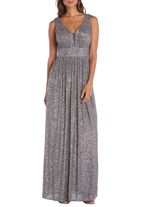 Morgan & Co. Womens Sleeveless Knit Stretch Sequin