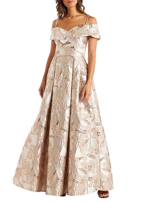 Nightway Womens Long Crisscross Brocade Gown