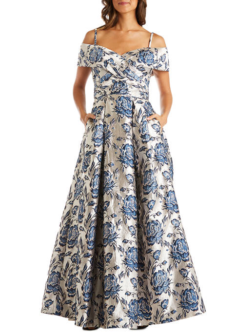 Womens Off the Shoulder Jacquard Metallic Ballgown