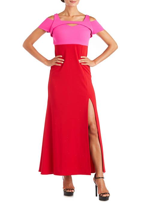 Nightway Womens Colorblock Long Scuba Gown