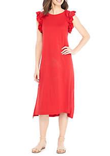 Ruffle Sleeve Washed Terry Midi Dress