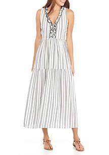 Sleeveless Stripe Tiered Ruffle Dress