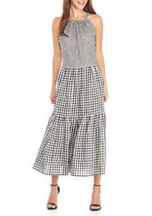 Halter Neck Cotton Gingham Maxi Dress