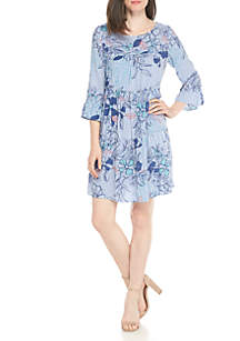 Sleeveless Printed Chambray Dress