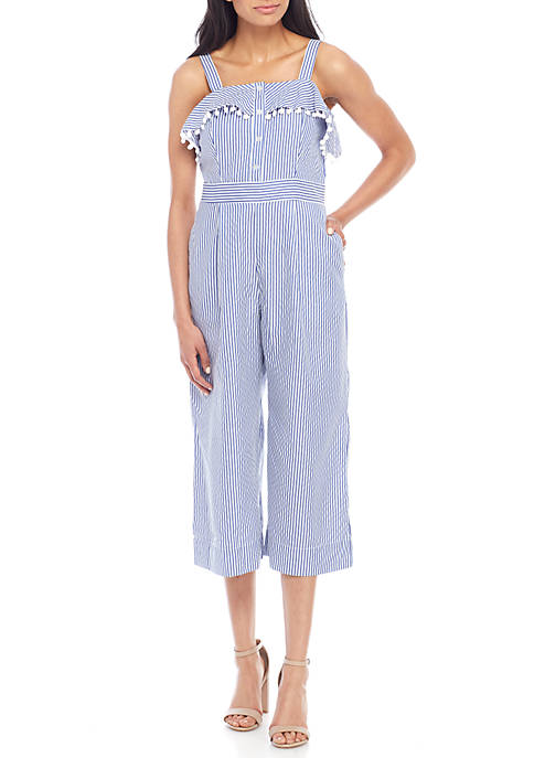 Violet Weekend Sleeveless Ruffle Button Down Seersucker Jumpsuit