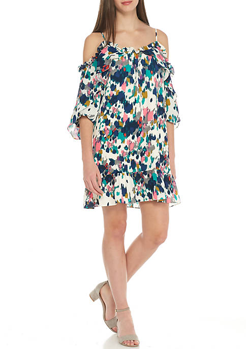 clover and sloane Fly Away Ruffle Cold-Shoulder Dress