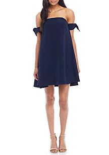 Off-The-Shoulder Crepe Tie Sleeve Dress