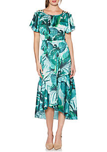 Printed High-Low Shoulder Detail Dress