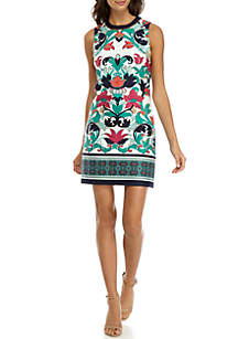 Printed Beaded Neck Shift Dress