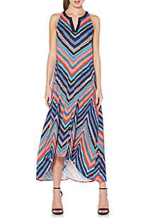Printed High Low Midi Dress