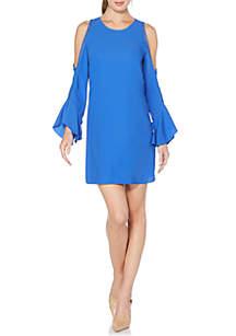 Cold-Shoulder Crepe Dress