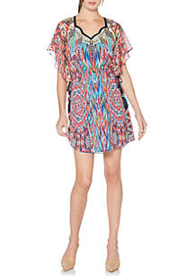 Printed Chiffon Flutter Sleeve Dress