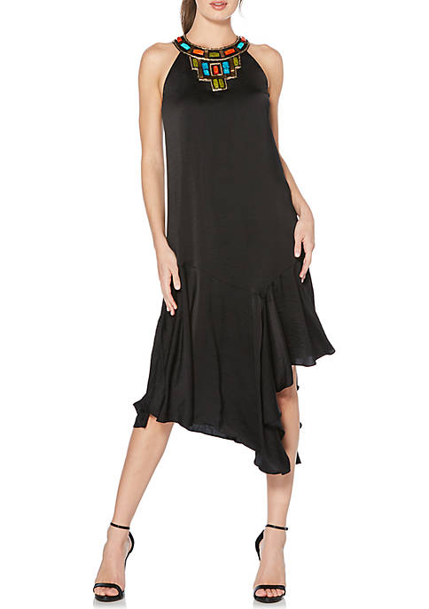 Laundry by Shelli Segal Beaded Neck Asymmetrical Midi