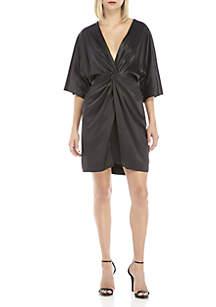 V-Neck Twist Front Dress
