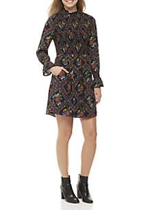 Long Sleeve Printed Smock Dress