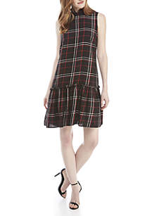 Plaid Ruffle Mock Neck Flounce Dress