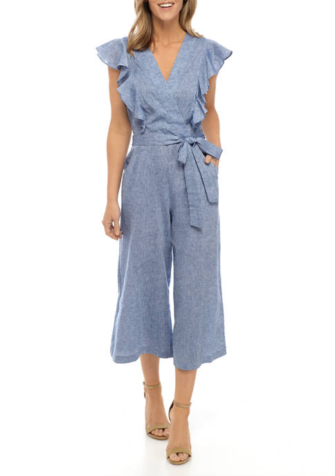 Womens Ruffle Tie Chambray Jumpsuit
